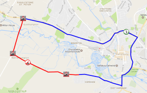 Extent of works (red) and diversion route (blue). Click on image to view zoomable map at Wiltshire Council