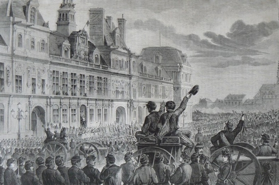 Hôtel de ville proclamation de la Commune de 1871 dessin de Lamy Le Monde illustré - Copie