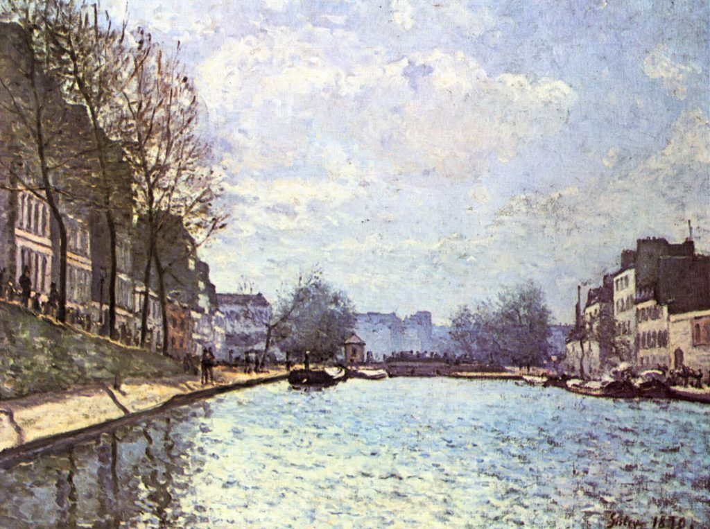 """Alfred Sisley, """"View of the Canal St Martin"""", 1870. Public domain."""