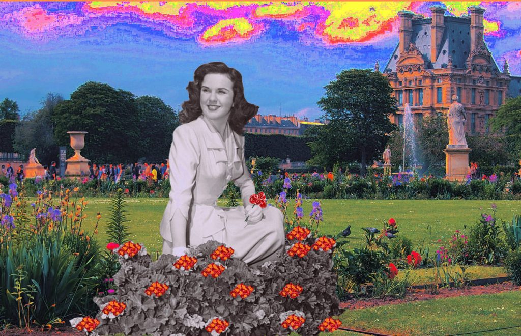 Tuileries Gardens in spring, as imagined by an anonymous artist with a humorous understanding of Hollywood myths around Paris. Or one with terrible taste-- we're not quite sure which. Public domain