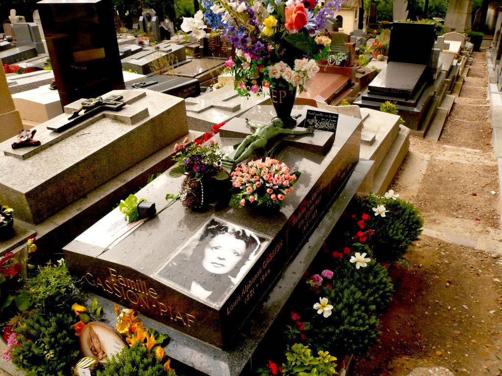 Edith Piaf's well-loved grave at Pere-Lachaise cemetery in Paris.