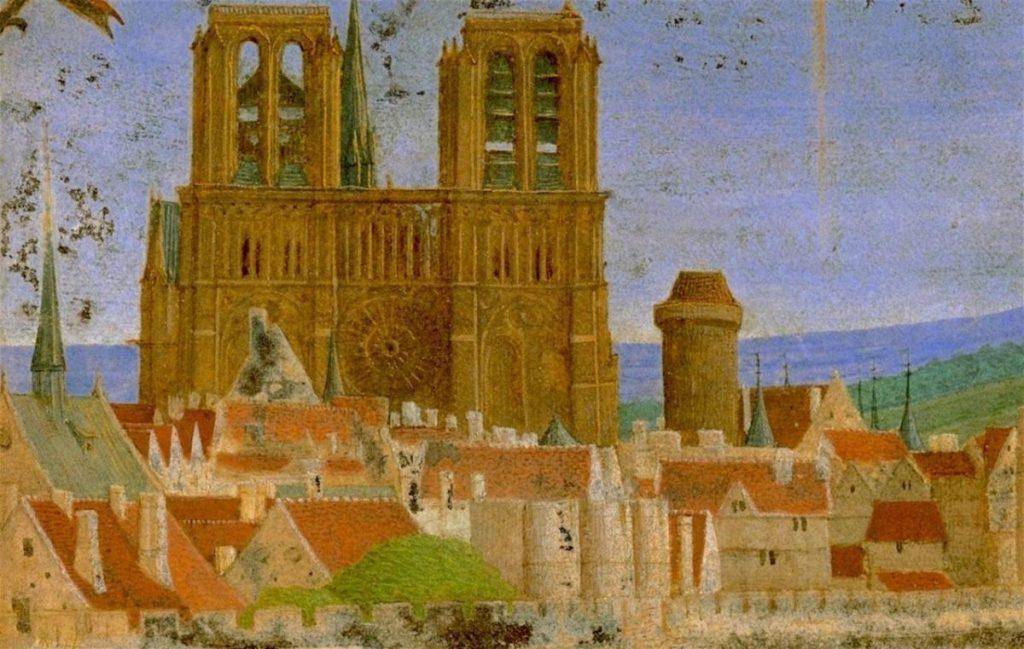 An anonymous medieval image of Paris, showing Notre-Dame Cathedral and the Ile de la Cité.