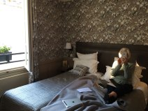 """Waking up in Paris in our cozy twin """"room of poets"""""""