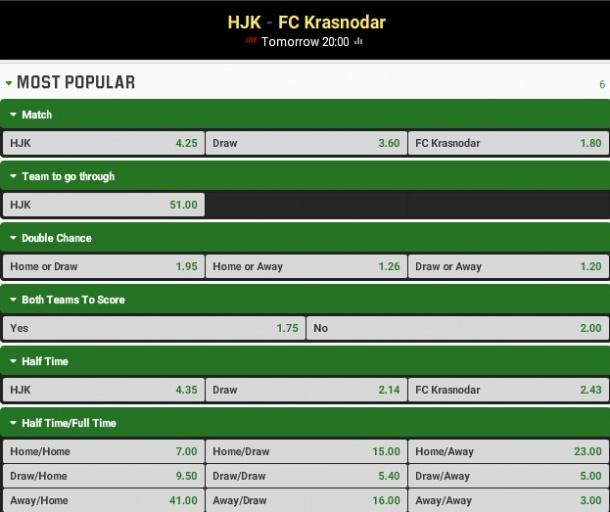 Hjk Helsinki Vs Krasnodar, Ponturi Pariuri Europa League