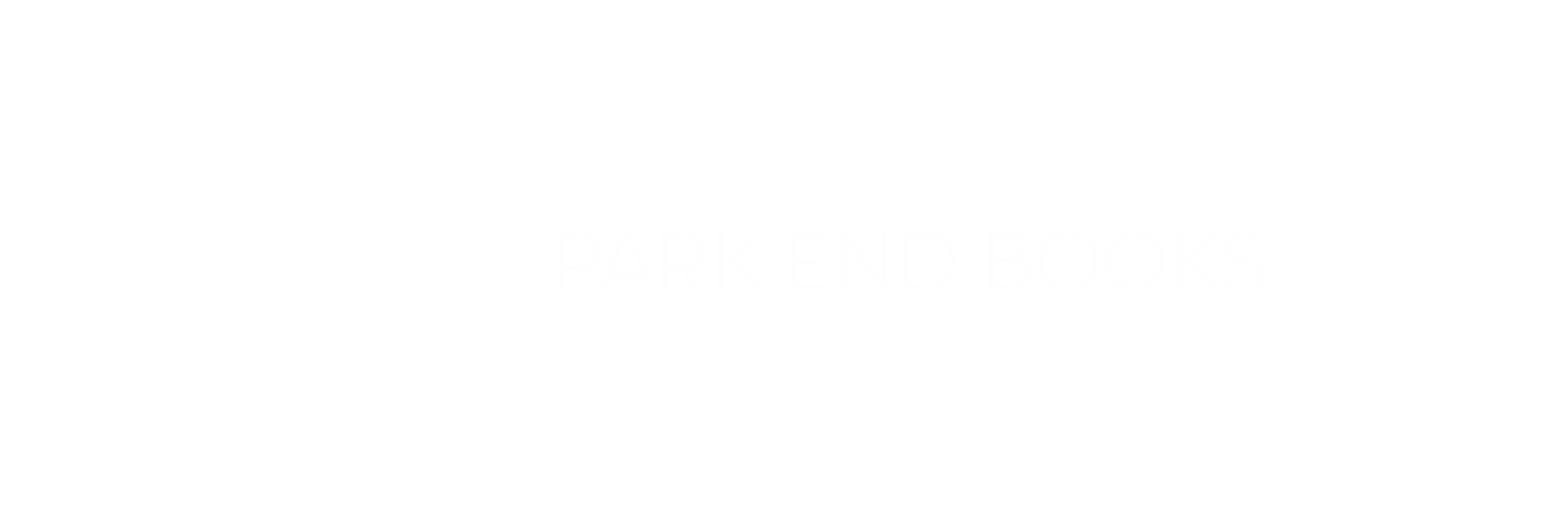white logo of tree inside 5 concentric circles next to text Park End Books