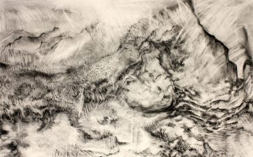 A Clear Distant View 33 x 50 2016 Charcoal on Paper