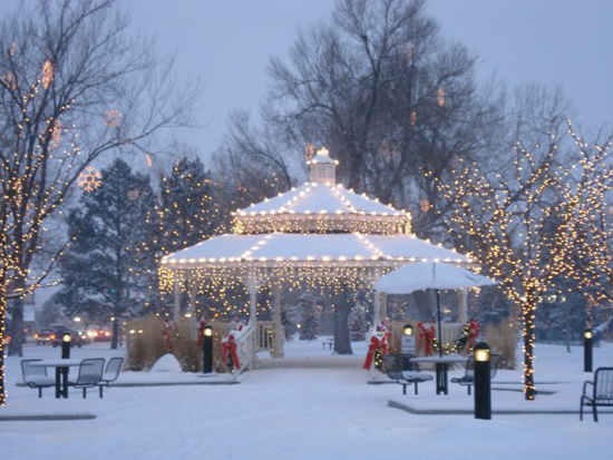Parker's Gazebo in O'Brien Park at Christmas