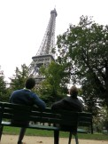 Just being missionaries (Elder Hall and I casually sitting on a bench in the park next to the Eiffel Tower) NBD