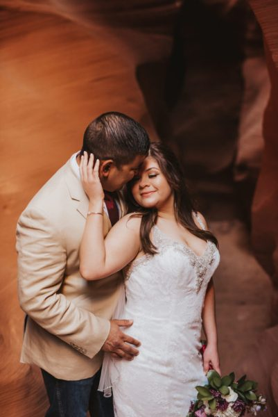 Bride and Groom in Slot Canyon