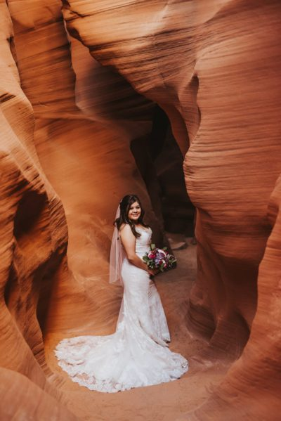 Bride in Slot Canyon