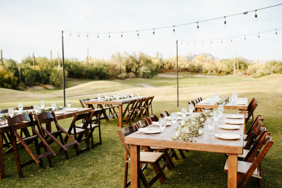 outdoor wedding reception in Arizona