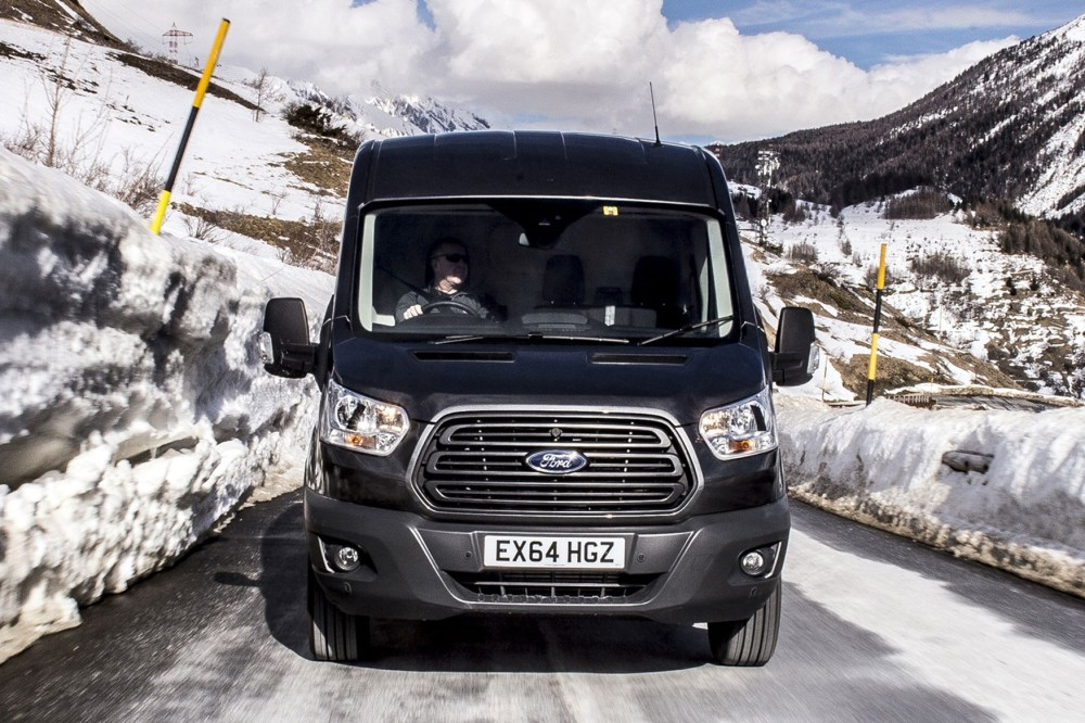 medium resolution of ford transit awd review front head on view driving