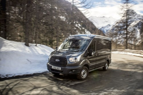 small resolution of ford transit awd review front view driving on mountain road