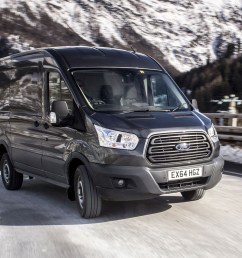 ford transit awd review front view driving on icy road [ 1752 x 1168 Pixel ]