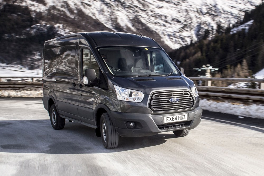 medium resolution of ford transit awd review front view driving on icy road
