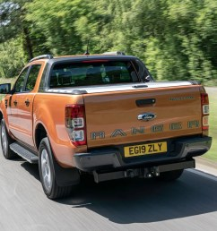 ford ranger review 2019 facelift rear view driving on road wildtrak  [ 1752 x 1168 Pixel ]