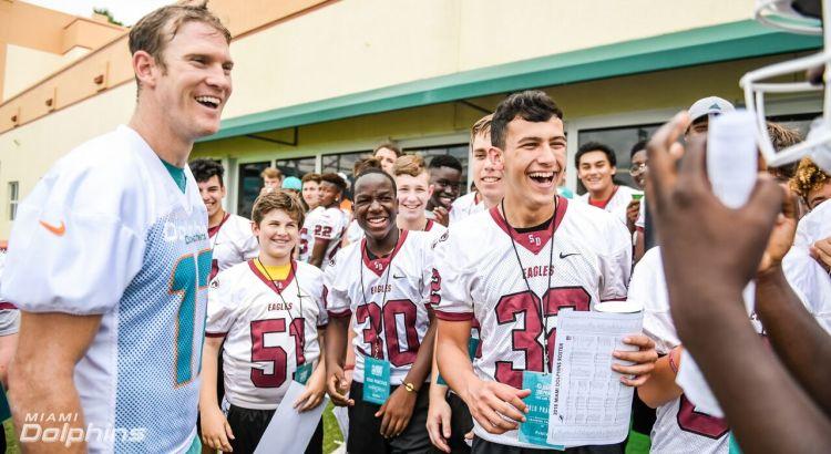 Miami Dolphins Host Marjory Stoneman Douglas Football at Team Practice
