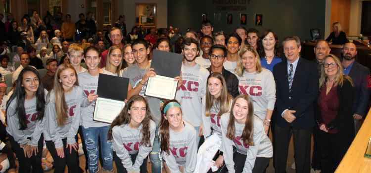 Marjory Stoneman Douglas Cross Country Teams Honored by City as District Champions