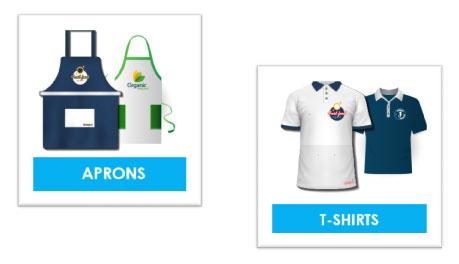 brabded aprons t-shirts