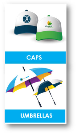 cap and umbrellas