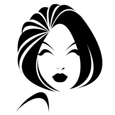 short hair style icon, logo women face on white background