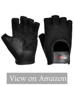 iiSPORT Mens Weight Lifting Gloves Leather Grip Gym Workout Crossfit Bodybuilding Fitness Gloves