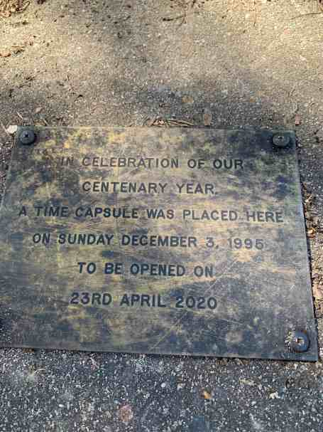 Plaque covering the 1995 Time Capsule