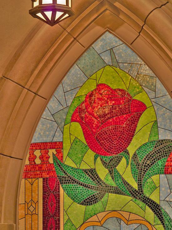 An Enchanted Rose Mosaic at Be Our Guest Restaurant in New Fantasyland at Magic Kingdom Park