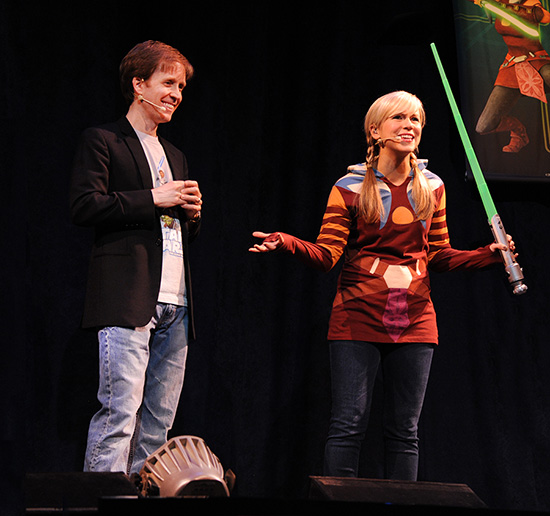 James Arnold Taylor and Ashley Eckstein Share a Laugh On-stage at Star Wars Weekends 2012.  The Pair Will Return as Celebrity Hosts in 2013.