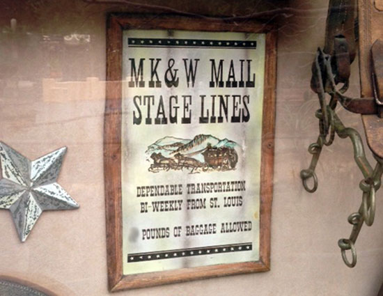 MK&W Mail Stage Lines at Pioneer Mercantile in Frontierland at Disneyland Park