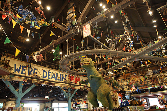 "Dinosaurs Say ""Good Buy"" at Chester and Hester's Dinosaur Treasures in Dinoland, U.S.A. at Disney's Animal Kingdom"