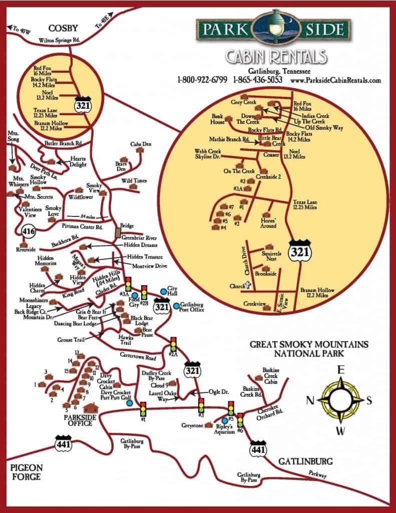 Map Of Gatlinburg Area : gatlinburg, Gatlinburg, Cabin, Rentals, Cabins
