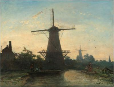 Johan Barthold Jongkind, Moulins à Rotterdam, 1857.  Huile sur toile,  42,5 × 55 cm.  Rijksmuseum, Amsterdam.
