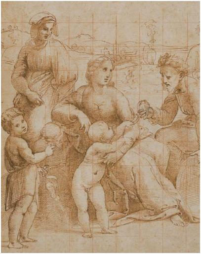 Raffaello Sanzio dit Raphaël, Sainte Famille. Plume et encre brune, traces de pierre noire, mise au carreau à la sanguine, 35,7 x 23,8 cm. Palais des Beaux-arts, Lille.