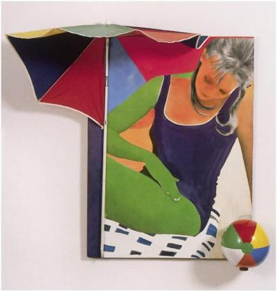 Martial Raysse, Souviens-toi de Tahiti en septembre 61, 1963. Photograph, acrylic, and screenprint on canvas, parasol, ball, 180 x 170 cm. Louisiana Museum of Modern Art, Copenhagen.