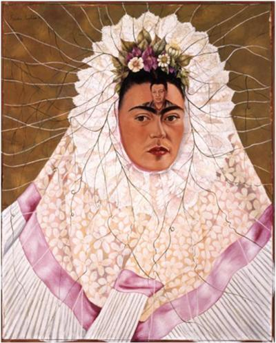 Frida Kahlo (Mex¬i¬can, 1907 – 1954). Diego on My Mind, 1943. Oil on Masonite, 29 7⁄8 x 24 inches. The Jacques and Natasha Gel¬man Col¬lec¬tion of 20th Cen¬tury Mex¬i¬can Art. The Vergel Foun¬da¬tion. Conaculta/INBA. © 2013 Banco de Méx¬ico Diego Rivera Frida Kahlo Muse¬ums Trust, Mex¬ico, D.F. /Artists Rights Soci¬ety (ARS), New York. Used with per¬mis¬sion from the Nelson-Atkins Museum of Art.