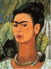 Frida Kahlo, Autoritratto con scimmia, 1938. Olio su masonite, 49,5 x 39,4 cm. Albright-Knox Art Gallery, Buffalo, New York.