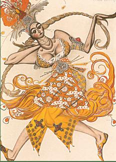 Leon Bakst, Costume per L'Uccello di fuoco, di Igor Stravinsky, 1910.