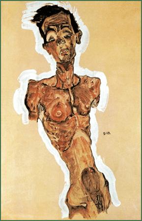 Egon Schiele, Self-Portrait, Nude, 1910. Gouache, watercolour, black crayon and white highlighting, 44.9 x 31.3 cm. Leopold Collection, Leopold Museum, Vienna.