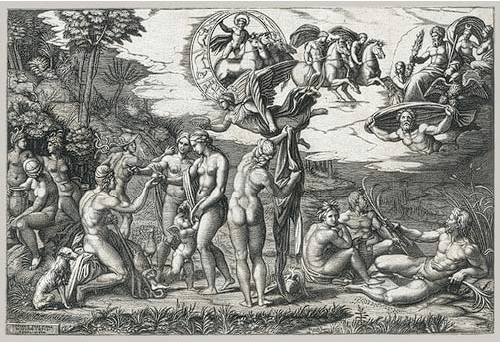 Marcantonio Raimondi, designed by Raphael, The Judgment of Paris, c. 1510-1520. Engraving, 29.2 x 43.6 cm. The Metropolitan Museum of Art, New York.