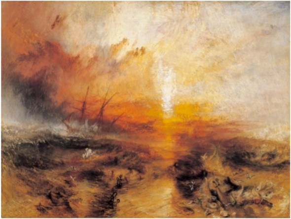 Slavers Throwing Overboard the Dead and Dying – Typhoon Coming On, 1840. Oil on canvas, 91 x 138 cm. Museum of Fine Arts, Boston.