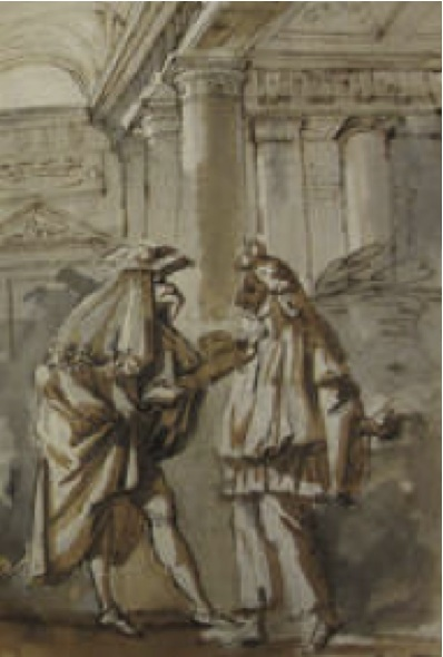 Antonio Primo, Escena de la Commedia dell'Arte, Cuaderno italiano, p. 233, Hacia 1761 – 1764. Meadows Museum, Southern Methodist University, Dallas.