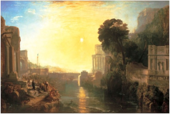 Dido Building Carthage; or, the Rise of the Carthaginian Empire, 1815. Oil on canvas, 155.5 x 232 cm. Turner Bequest, National Gallery, London.