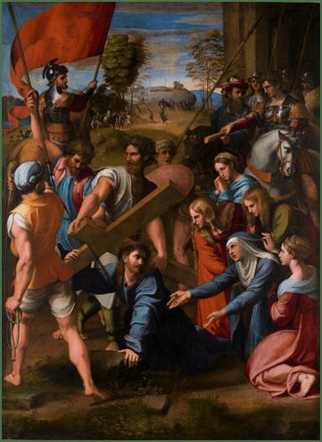 Rafael, Caída en el camino del Calvario, o El Pasmo de Sicilia, 1515-1516. Óleo sobre tabla, 318 cm x 229 cm. Museo Nacional del Prado, Madrid.