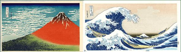 Derecha: K. Hokusai, Bajo la ola de Kanagawa (Kanagawa oki nami ura), también conocido como La gran ola, de la serie Treinta y seis vistas del monte Fuji (Fugaku sanjûrokkei), c. 1830-1832. Ôban horizontal, 25,4 x 38,1 cm. The Metropolitan Museum of Art, Nueva York. Izquierda: K. Hokusai, Dulce brisa, buen tiempo (Gaifû kaisei), también conocido como Fuji rojo, de la serie Treinta y seis vistas del monte Fuji (Fugaku sanjûrokkei), 1830-1831. Ôban horizontal, 24,4 x 38,1 cm. Museum of Fine Arts, Boston.