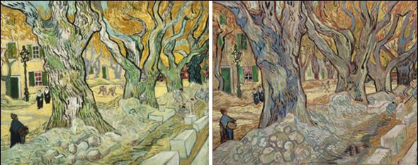Derecha: V. Van Gogh, Los grandes árboles de la esplanada (Peones camineros en Saint-Rémy), 1889. Óleo sobre tela, 73,4 x 91,8 cm. The Cleveland Museum of Art, Cleveland. Izquierda: V. Van Gogh, Los peones camineros. Óleo sobre lienzo, 73,66 x 92,71 cm. The Phillips Collection, Washington.