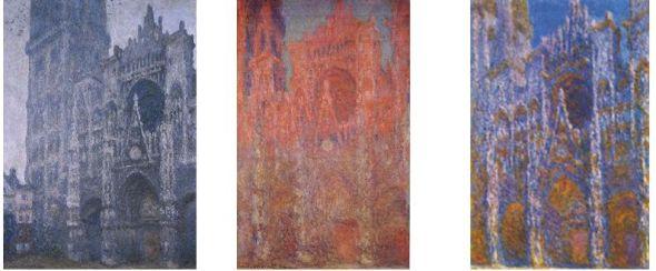 Die Kathedrale von Rouen, Fassade und Turm Saint-Romain, trübes Wetter, 1894. Öl auf Leinwand. Musée des Beaux-Arts, Rouen. Die Kathedrale von Rouen, Fassade, 1892-1894. Öl auf Leinwand. Pola Museum of Art, Hakone, Japan. Das Portal und der Turm Saint-Romain in der Morgensonne, Harmonie in Blau, 1893. Öl auf Leinwand. Musée d'Orsay, Paris.