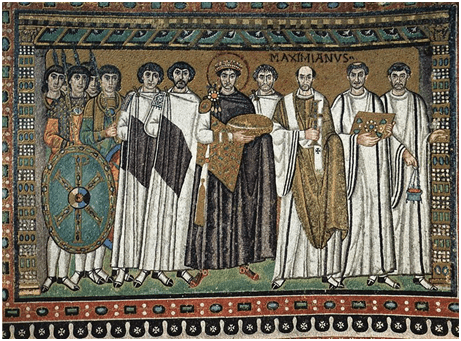 Kaiser Justinian I., Mosaik in der Kirche San Vitale in Ravenna