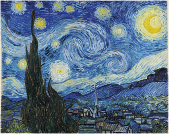 The Starry Night, Saint-Rémy, June 1889. Oil on canvas, 73.7 x 92.1 cm. The Museum of Modern Art, New York.