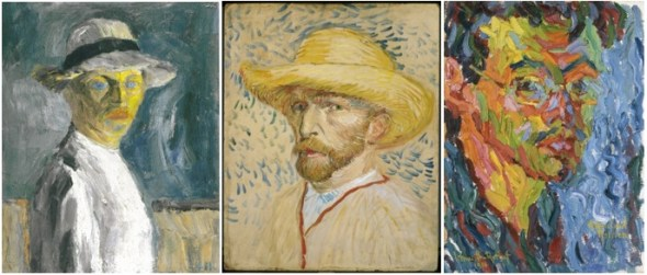 De gauche à droite : Emil Nolde, Autoportrait, 1917. Vincent van Gogh, Autoportrait au chapeau de paille et sarrau de peintre, 1887, Amsterdam, Vincent van Gogh Museum. Karl Schmidt-Rottluf, Autoportrait, 1906, Seebüll, Stiftung Seebüll Ada & Emile Nolde.